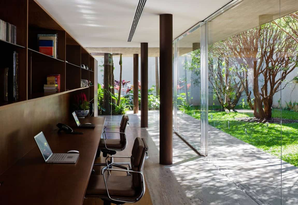open-space-home-office-design-with-brown-color-with-transparent-glass-wall