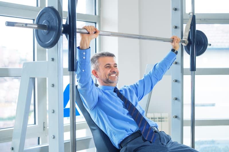 Businessman in gym